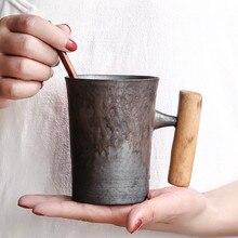 Винтажная керамическая кофейная кружка в японском стиле, стакан, глазурованная чашка для чая и молока с деревянной ручкой