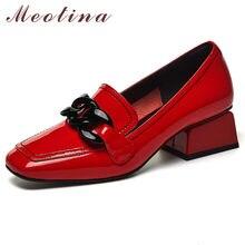 Meotina buty damskie naturalne oryginalne skórzane czółenka na wysokim obcasie Fashion Square Toe obuwie grube obcasy obuwie wiosna czarne 42