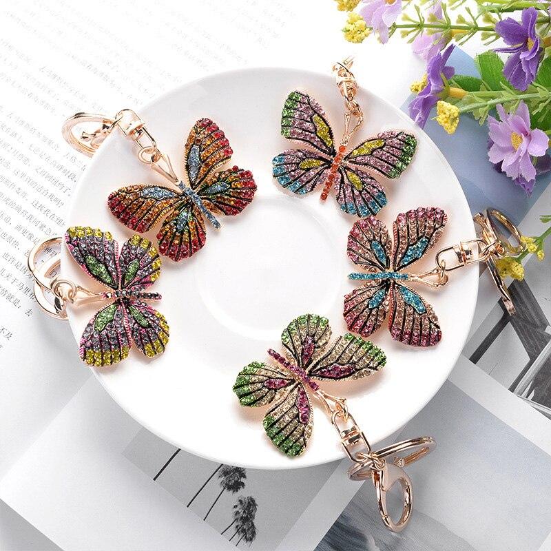 Cute Full Rhinestone Alloy Animal Key Chain For Women Crystal Glittering Butterfly Keychain Bag Accessories Gold Car Key Ring
