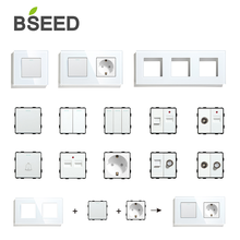 BSEED EU UK Standard Panel Socket Button Switch With Crystal Glass Frame White Black DIY Home Improvement