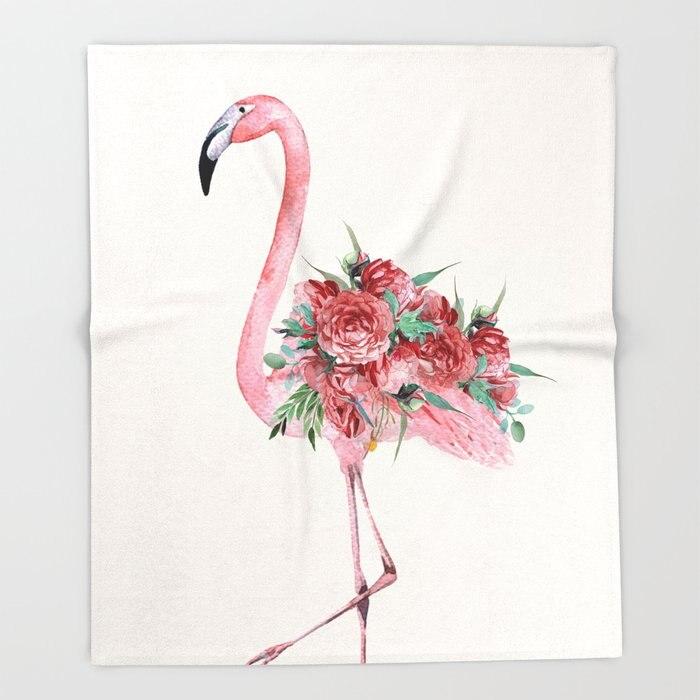 Flower Design Blankets Flamingo Floral Throw Blanket Flannel Fabric Blanket Throws for Sofa 150x200 Flower Fleece Throw|Throw| |  - title=