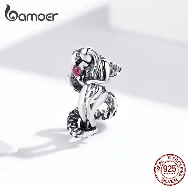 Pulseira de prata refinada 925 bamoer, joia do protetor de manga e cobra genuína de metal scc1406