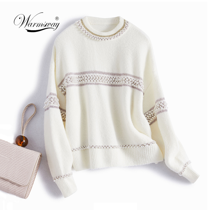 High Quality Women's Short Pullover Sweater Female Pearl Beading Warm Thick Winter Knitted Oversized Sweater C-486