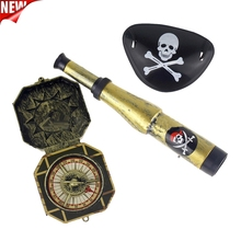 3Pcs Children Kid's Pirate Party Supplier Plastic Pirate Patch with Skull Dress Up Prop Compass Mini Telescope Halloween