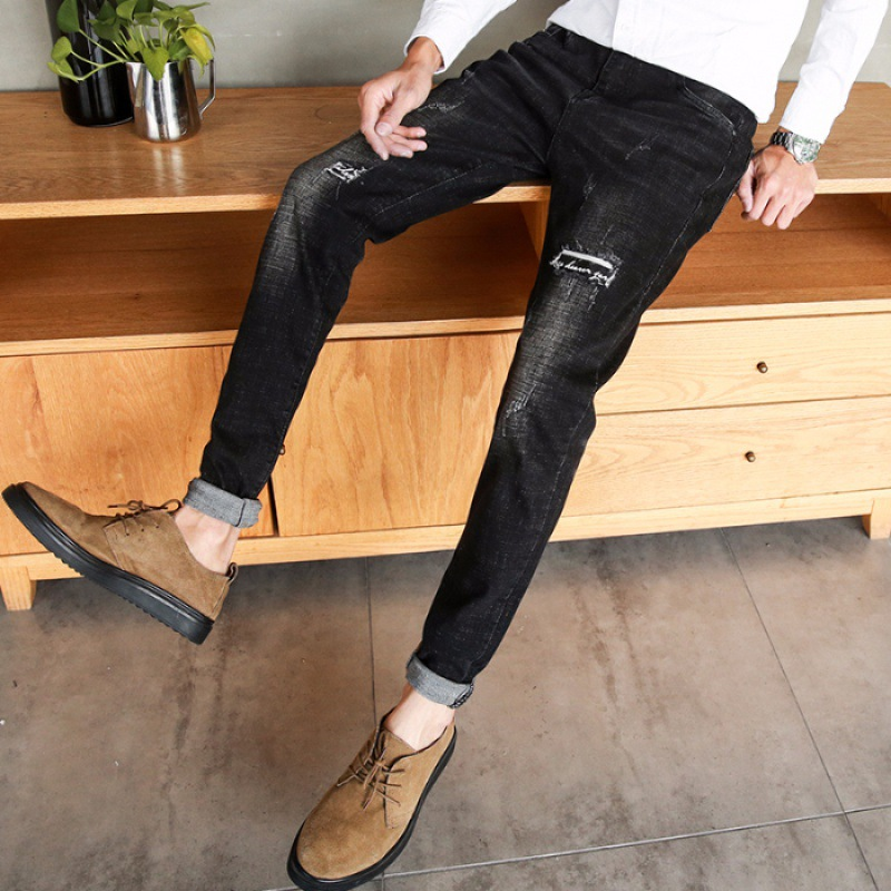 Jeans Men's Slim Fit Spring New Style Black Embroidery With Holes Slimming Korean-style Trend Trousers
