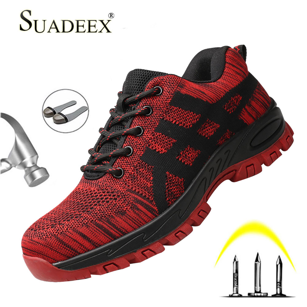 SUADEEX Work Boots Men Safety Shoes Unisex Air Mesh Work Shoes Men Sneakers Anti-smashing Steel Toe Footwear Safety Boots Male