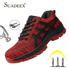 SUADEEX Work Boots Men Safety Shoes Unisex Air Mesh Sneakers Anti-smashing Steel Toe Footwear Male