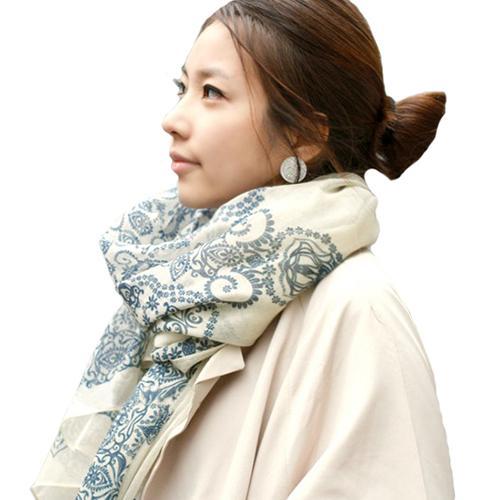 Women's Fashion Porcelain Pattern Print Long Big Wrap Soft Autumn Winter Scarf