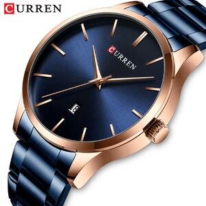 Часы CURREN мужские кварцевые из нержавеющей стали, люксовые брендовые модные водонепроницаемые спортивные с датой