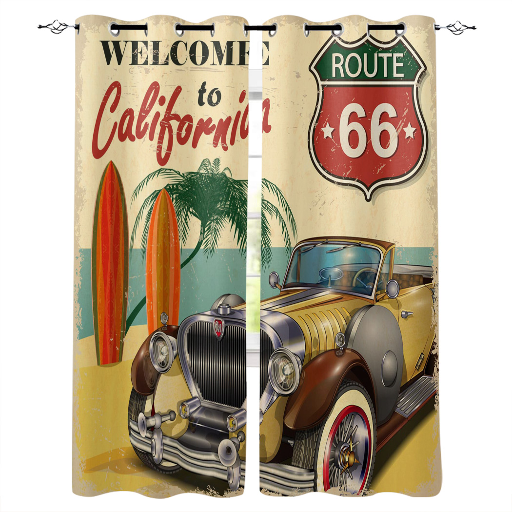 Retro Car Seaside Beach Poster California Printed Window Curtains Living Room Bedroom Curtains Polyester Cloth Home Decor(China)