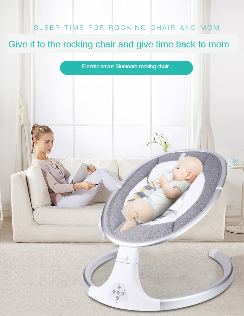 Mosquito Net Electrical Baby Swing Infant Bouncer GYMAX Electric Baby Rocker with 5 Swinging Amplitudes Bluetooth USB Music Play 10 Soft Melodies and Timing Function Beige