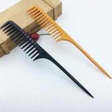 1 pc 2 cores ponta profissional cauda pente para salão de beleza barbeiro seção escova de cabelo ferramenta de cabeleireiro diy pente de dentes largos