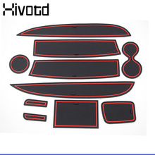Hivotd For Renault Clio 4 Gate Slot Mats Rubber Cushion anti-slip Cup Holders Pads Interior decoration Accessories car-styling for renault koleos 2014 anti slip rubber mats auto motive interior carpet gate slot car part luminous door pad