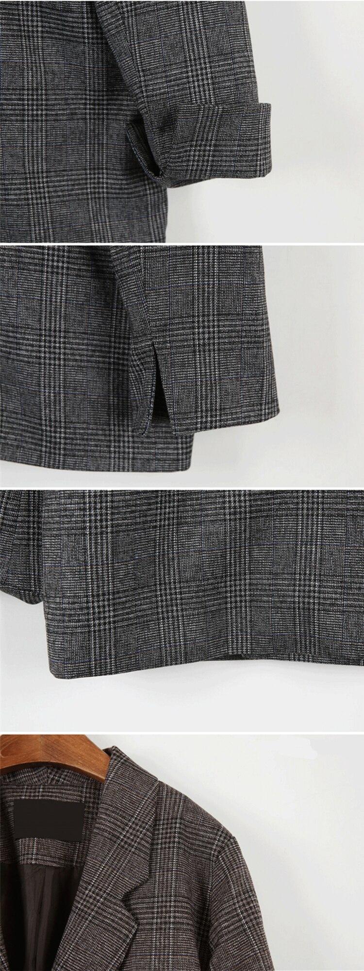 Colorfiath casaco feminino, xadrez bolsos formais modelados