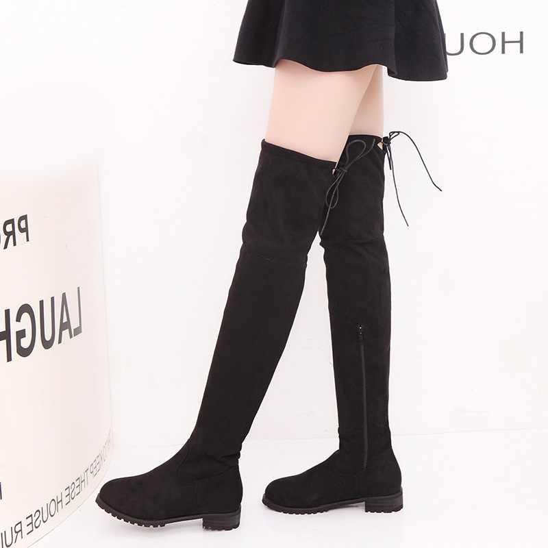 2019 Slim ต้นขาสูงรองเท้าบู๊ตเข่าเข่า-รองเท้าบูทสูงหญิงฤดูหนาวรองเท้าผู้หญิงพลัสขนาด 43 Botas Mujer