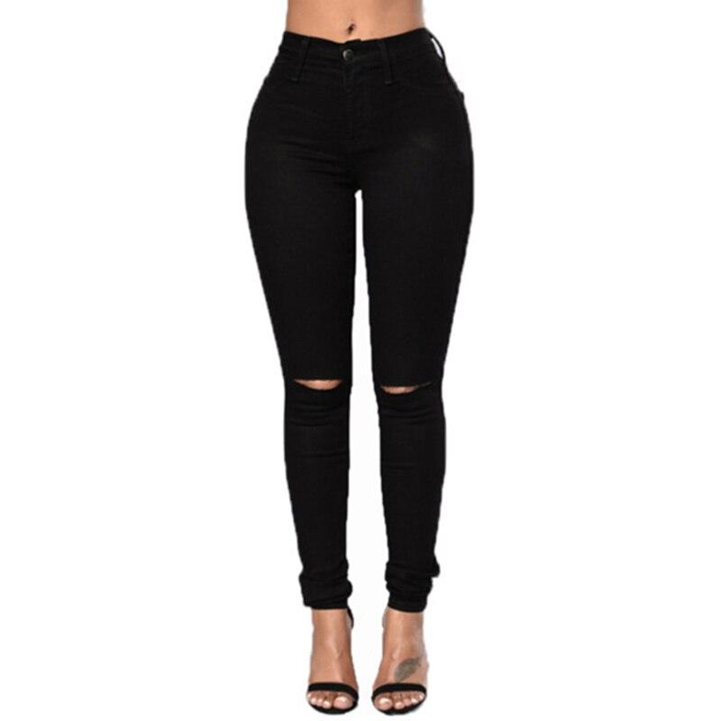2020 Autumn Women Oversized Denim Pencil Pants Black Long Jeans Skinny Elastic High Waist Hole With Pocket Zipper Jeansy Damskie