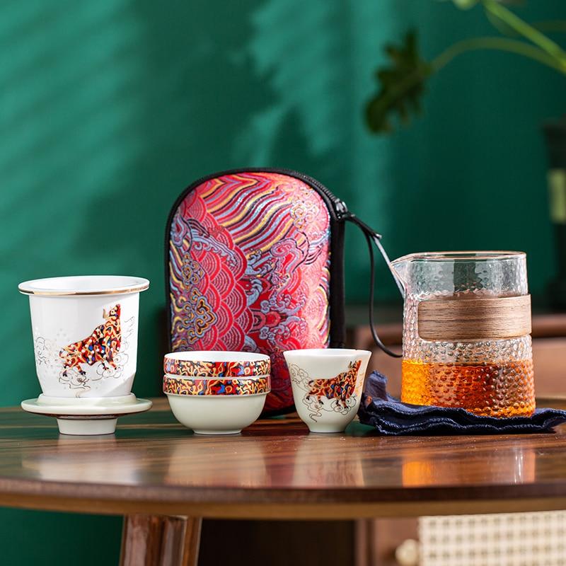 Outdoor travel tea set 1 pot 3 cups Chinese Kung Fu tea set ceramic cover bowl teapot tea cup teacup tea set tea set outdoor tea