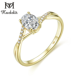Kuololit Solid 10K yellow gold Natural moissanite Rings for Women 1ct Oval D color Solitaire ring for promise engagement party