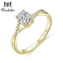 Kuololit sólido 10k ouro amarelo natural moissanite anéis para mulher 1ct oval d cor solitaire anel para festa de noivado promessa