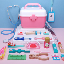 Wooden Children Pretend Doctor Toy Set Plastic Box Outer Box Simulation Family Doctor Nurse Medical Kit Toy Pretend Play Gift