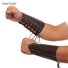 Black Steampunk Medieval Gauntlet Wristband Brown Cosplay Props Faux Leather Wide Bracer Lace Up Arm Armor Cuff(China)