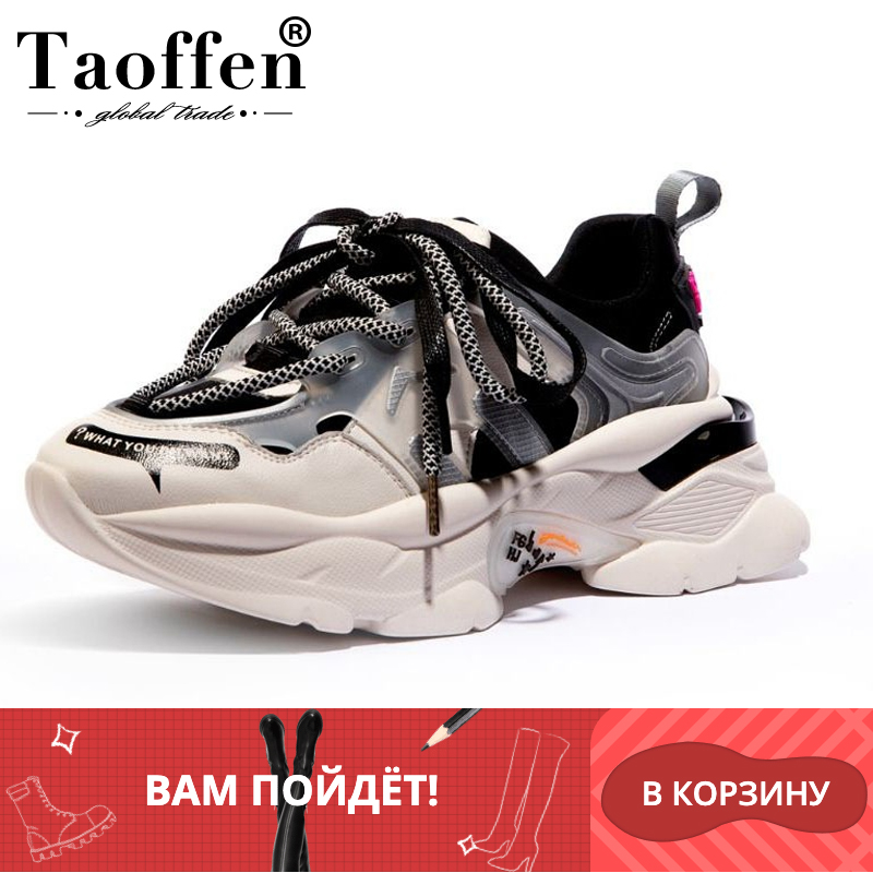 Taoffen Women Genuine Leather Round Toe Autumn Sneakers Thick Bottom Casual Shoes Woman Daily Fashion Shoes Footwear Size 35-42