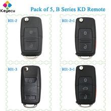 KEYECU 5 조각 폭스 바겐 스타일 KEYDIY B 시리즈 KD 원격 키 2/ 3/ 4 버튼 프로그래밍 URG200 KD X2 KD900 미니 KD