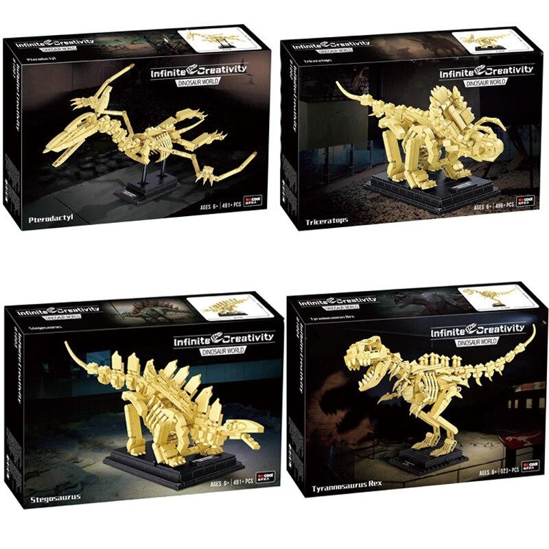 Детский конструктор «динозавр Юрского периода», серия World Park, T-rex Triceratops, скелет, индоминус Рекс, динозавр, ископаемые кирпичи, игрушки, подар...