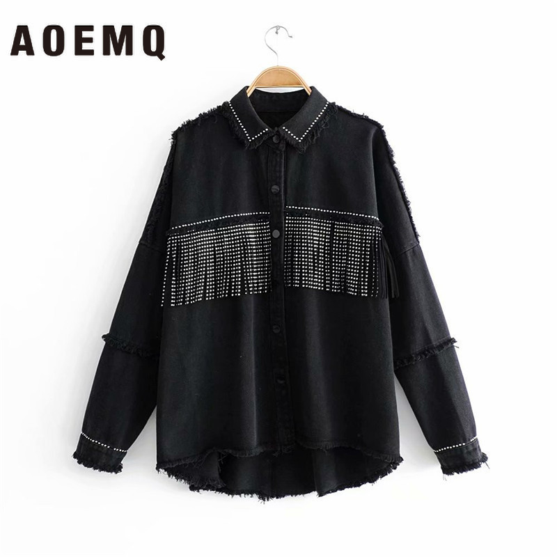 AOEMQ 2019 New Fall Season Thin Jackets Black Color With Button Draped Tassel High Street Punk Cool Girl Jackets For Women