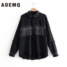 AOEMQ 2019 New Fall Season Thin Jackets Black Color with Button Draped Tassel High Street Punk Cool Girl Jackets for Women(China)