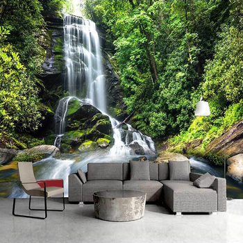 Green Forest Waterfall Custom 3D Wall Murals Wallpaper Living Room Bedroom Sofa TV Background Natural Landscape Photo Wall Paper green plant forest 3d stereo tv background wall professional production mural custom photo wall