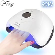 Lâmpada de 96w para secador de unhas, 90w, 80w, uv, led, luz solar, lâmpada de unhas uv para manicure secagem de todas as lâmpadas de verniz em gel, sensor de movimento