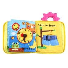 Juguete de bebé Montessori en 3D, libro de tela suave, juguetes educativos para la estimulación cognitiva, aprendizaje de habilidades de la vida básica