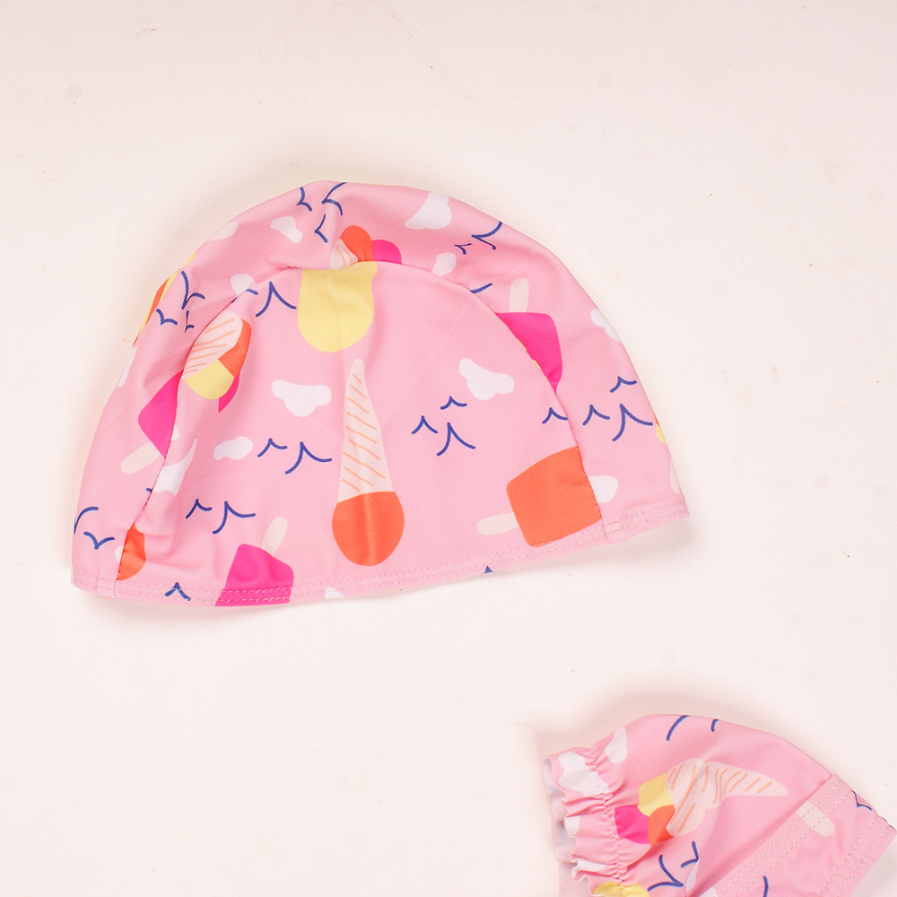 2019 New Style KID'S Swimwear Cool Summer Day Girls One-piece Ice Cream Pattern Hooded Quick-Dry