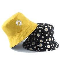 Sommer Gnseblmchen Eimer cabane Frauen Mode Baumwolle brin Sonne Hte réversible Bob chapeau Femme fleuri Panama cabane Fischer
