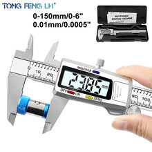 Micrômetro eletrônico de aço inoxidável da precisão de medição da pinça de digitas vernier de 6 polegadas 0-150mm