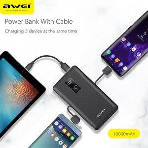 Image 3 - Awei כוח בנק 10000mAh LED תצוגה נייד מטען מהיר חיצוני סוללה מובנה 3 כבלי ברקים סוג C מיקרו עבור טלפון