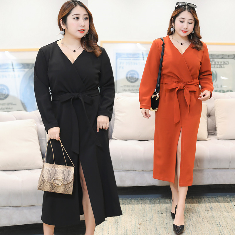 Fat Mm Plus-sized WOMEN'S Dress Spring Clothing New Style Western Style Slimming French Retro Platycodon Grandiflorum Full Body