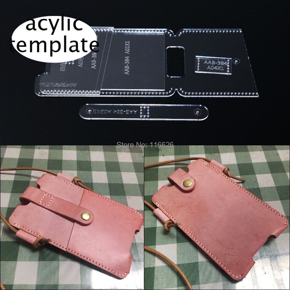 DIY Leather Craft Cell Phone Bag Acylic Template Pattern Stencil Set