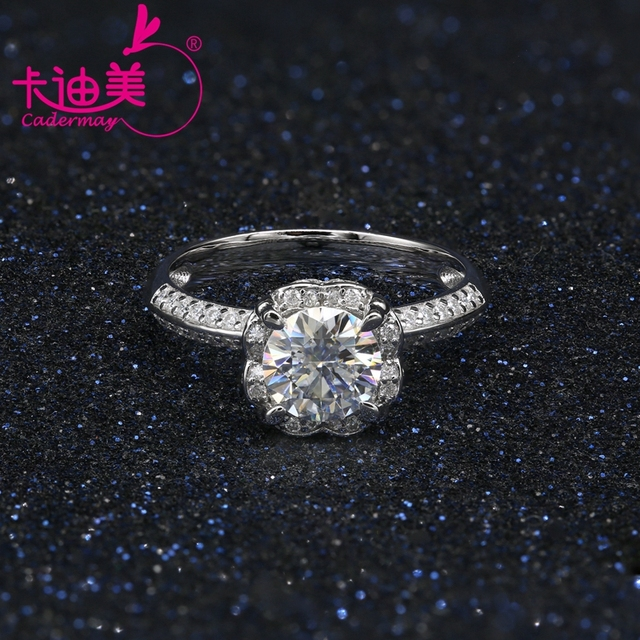 CADERMAY S925 Silver Jewelry 1CT Round Brilliant Cut Flower Style Moissanite Diamond Wedding Ring Band For Ladies Hot Sale 2