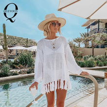 QUEVOON Summer Knitted Pullovers Round Neck Long Sleeve Hem with Tassel Knit Sweater Fashion Summer 2020 Beach Cover up Swimwear brown cross straps front round neck slit hem knitted jumper