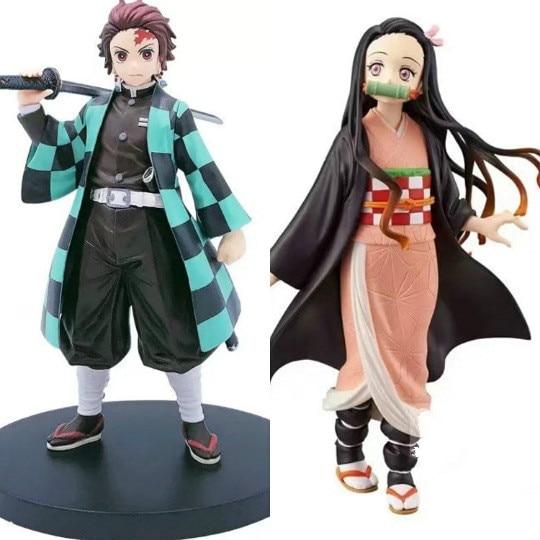 Demon Slayer Cosplay Props PVC Action Figures Model Tanjirou Nezuko Anime Kimetsu no Yaiba Figurine Toys Dolls Gift