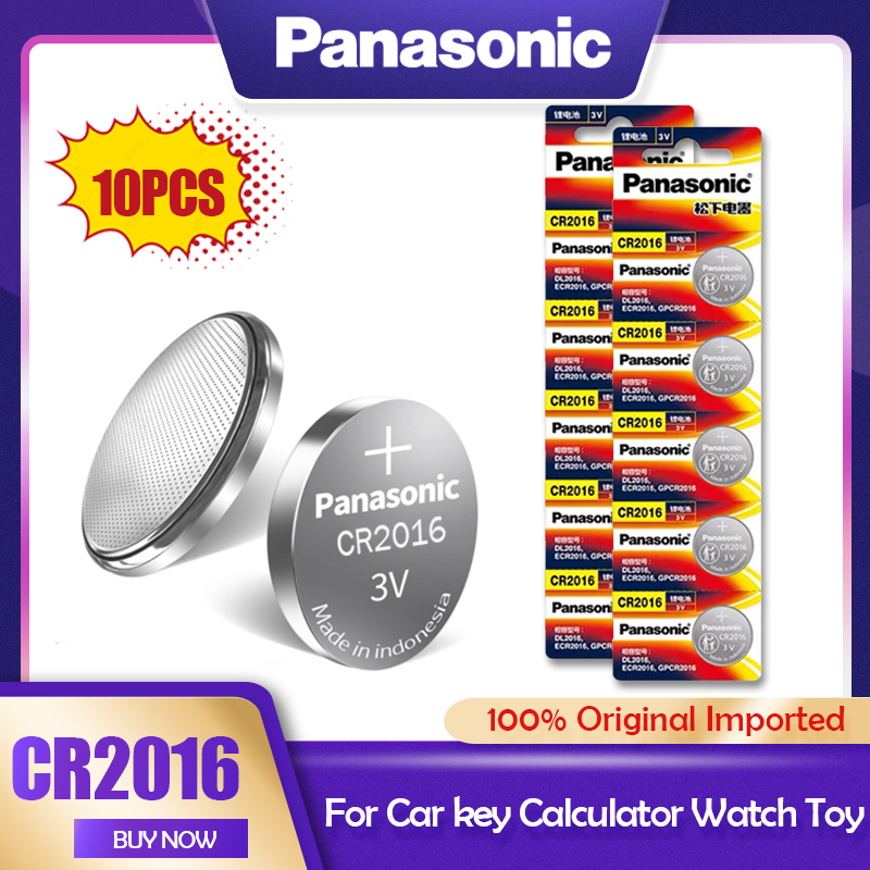 10 PÇS/LOTE Panasonic CR2016 3V CR Bateria de Lítio 2016 DL2016 LM2016 KCR2016 ECR2016 GPCR Para O Relógio de Brinquedo Chave Do Carro Botão de Célula tipo Moeda