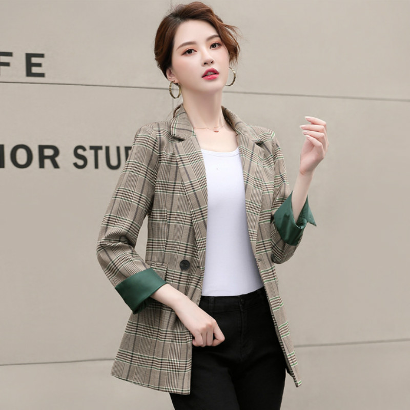 High Quality Autumn And Winter Women's Jacket Trendy Long Sleeve Check Blazer 2019 New OL Ladies Office Suit Overalls Female