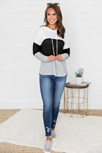 LOOZYKIT 2019 New Women Fashion Autumn Casual Hooded Sweatshirts Long Sleeve Patchwork  Pullovers Hoodies Sweatshirt Female autumn casual short hoodies women white black striped hoodies womens pullovers long sleeve fashion hooded sweatshirts girl 81739