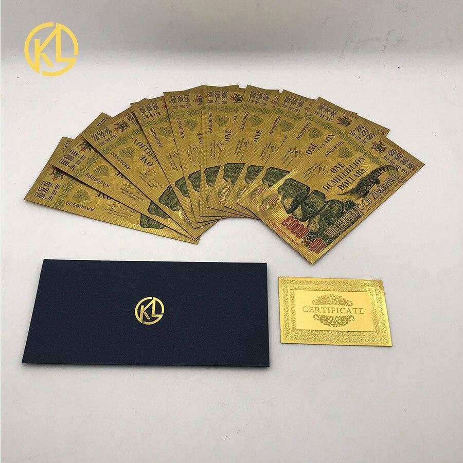 10 adet zimbabve altın banknot bir DUMILLILLION dolar altın 999999 zimbabve dolar banknot güzel hediye