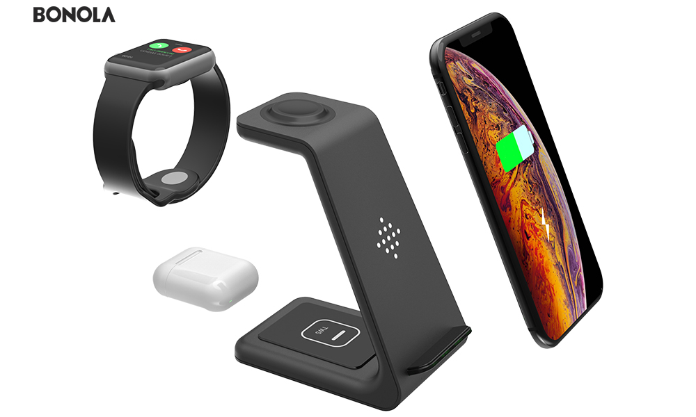 Bonola Qi 3 in1 Wireless Charging Station For iPhone11ProXrXsAirPods ProiWatch5 4 Wireless Charger For SamsungS10BudsWatch (3)