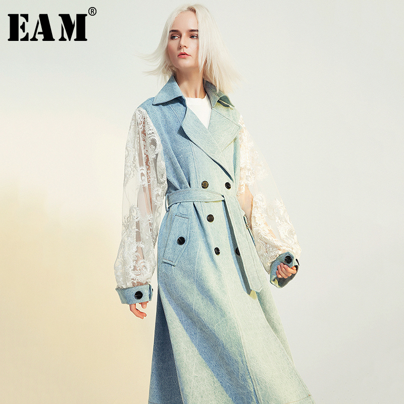 [EAM] Women Lace Spliced Waistbelt Denim Trench New Lapel Long Sleeve Loose Fit Windbreaker Fashion Spring Autumn 2020 1B097