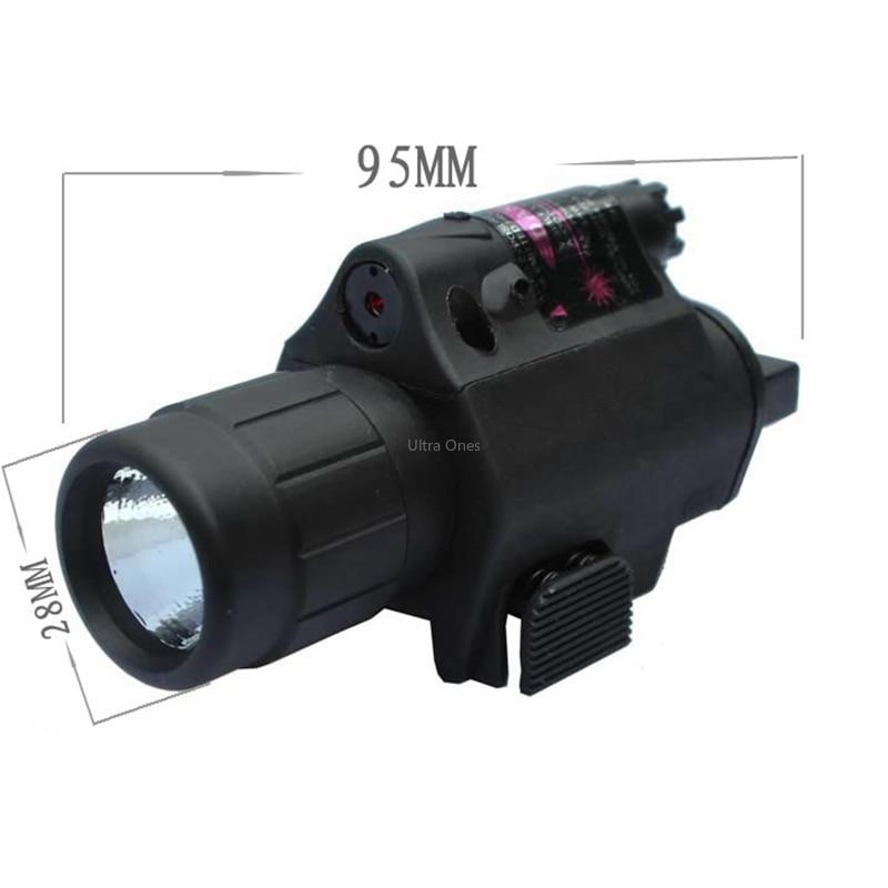 Tactical Hunting Cs LED Flashlight + Laser Sight for 20mm Rail Glock Beretta Airsoft Paintball Army Combat Pistol Gun Lights-3