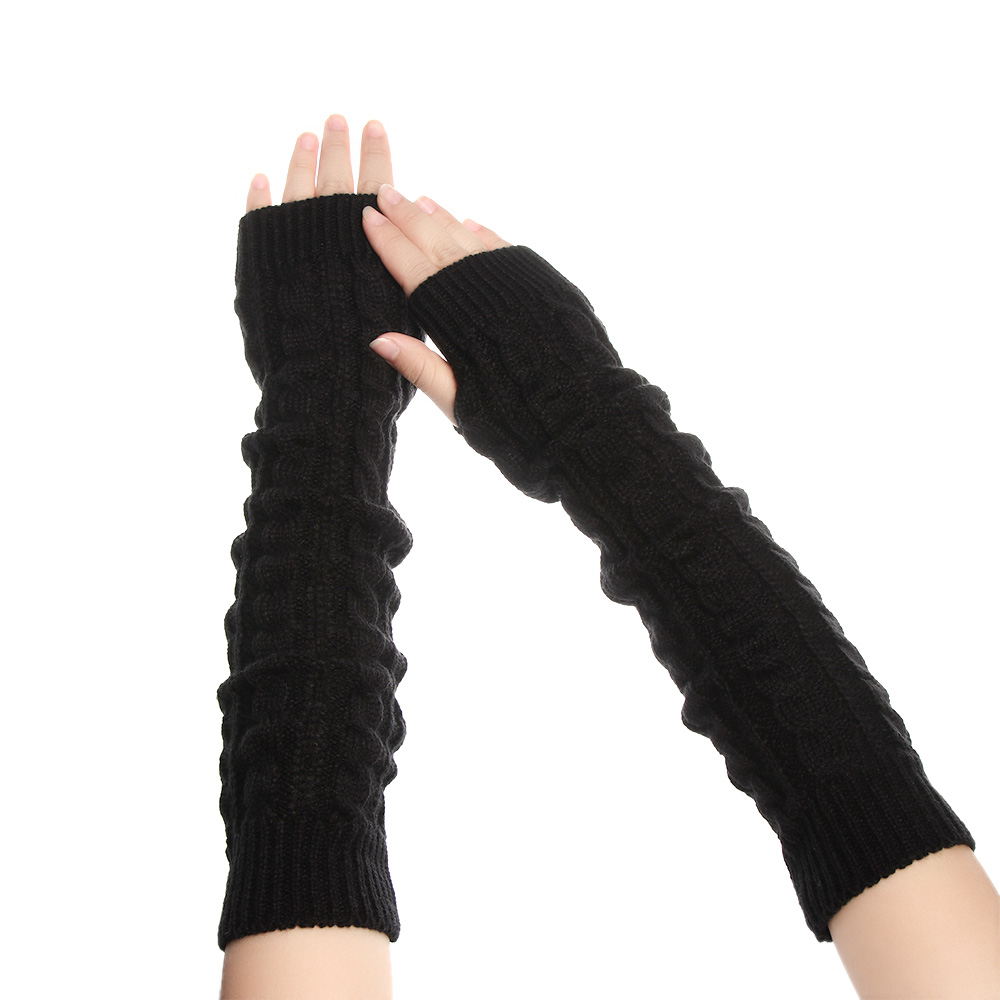1 Pair Winter Women Wool Arm Warmers Knitted Woolen Arm Sleeve Solid Long Knitted Fingerless Gloves Wholesale